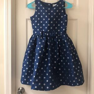 Blue with silver polka dots party dress